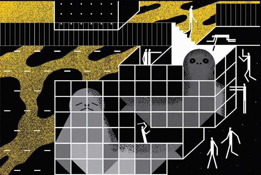 Каспийские тюлени. Иллюстрация Юлии Дробовой.