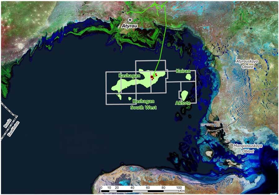 Северо-Каспийский проект, Казахстан. Карта с сайта НКОН Н.В,