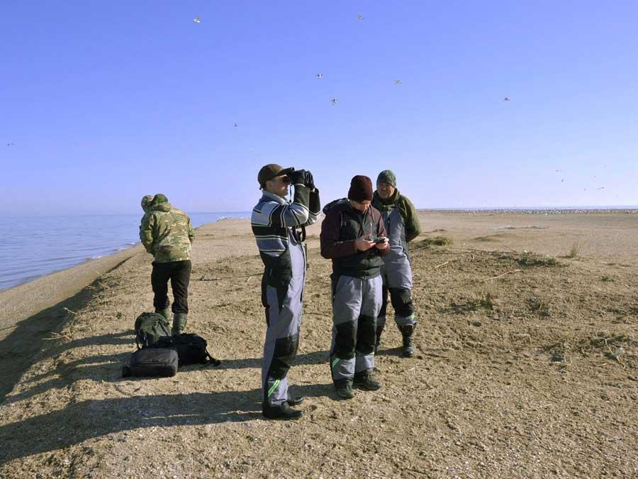 Исследовательская группа на острове. Фотография Максима Перковского.