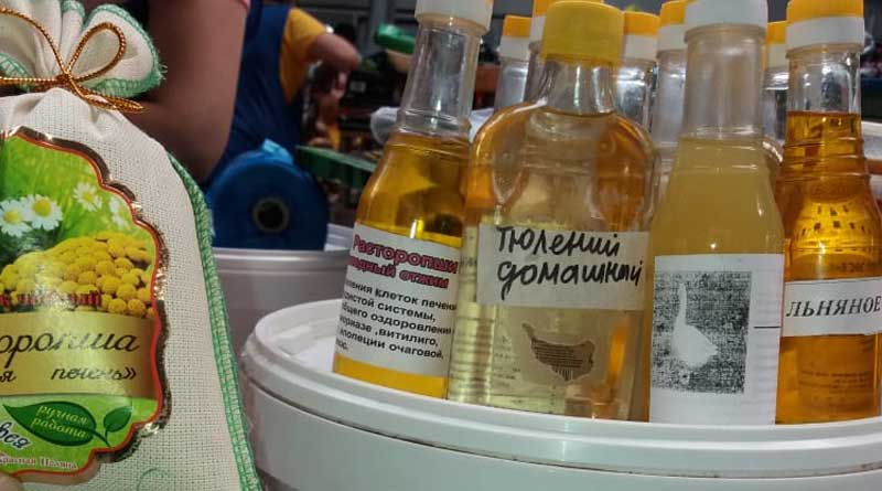 "A bottle of oil from the Caspian seal ""Homemade"". A market in Aktau, Kazakhstan, May 21, 2020."