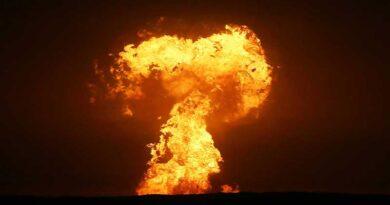 Извержение грязевого вулкана на Каспии