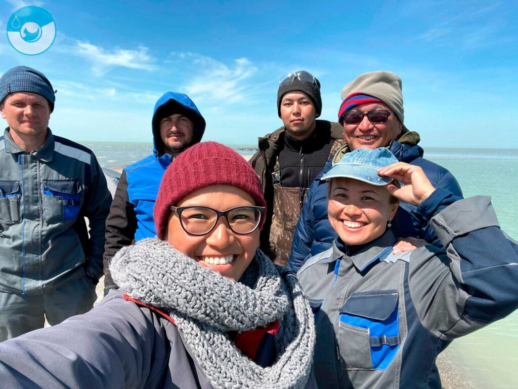 An expedition of the Institute of Hydrobiology and Ecology (Irgeli, Kazakhstan), northeastern part of the Caspian, April, 2021.