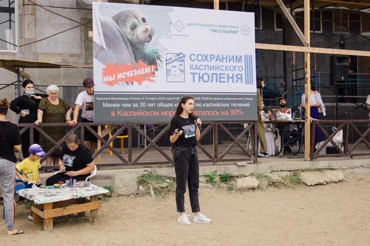 The ecological action 'Save the Caspian seal', Machachkala, the Republic of Dagestan, Russia, August 22, 2021.
